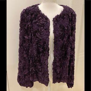 Lafayette 148 purple silk rosettes jacket, size 10